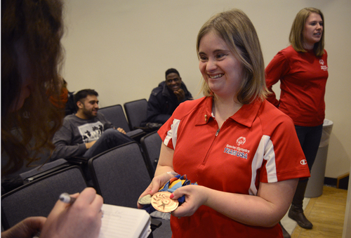 "Kayla McKeon, a 27-year-old Syracuse native with Down syndrome, shared her experiences with the ""R-word"" as the Special Olympics Club's guest speaker on Wednesday."